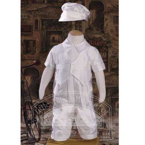 Baby Boys Off White Silk Dupioni Vested Baptism Coverall Size 3M by Little Things Mean A Lot