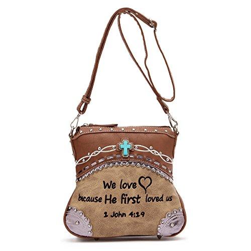Western Crossbody - Embroidered Bible Verse John 4:19 Messenger Style Bag (Tan Messenger Style Handbag)