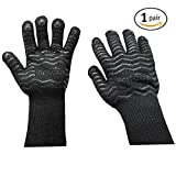 BesToop Heat Proof Gloves Silicone Food Grade,BBQ Gloves,Maximum hot surface temperature 932?, Fireproof Gloves for Oven Baking, Camping, Fireplace,Barbecue (Black)