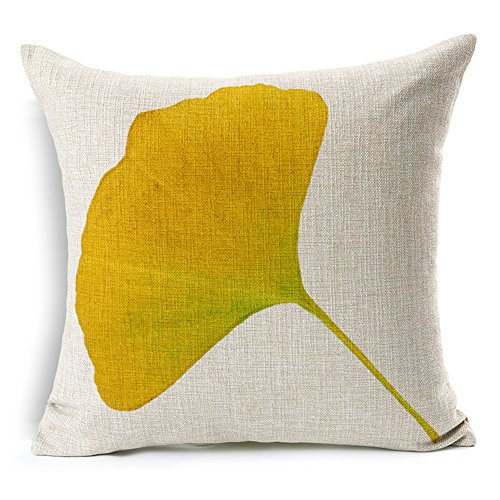 All Smiles Decorative Autumn Ginkgo Leaf Throw Pillow Case Cushion Cover Decor Print Fall Leaves 18x18 Cotton Linen