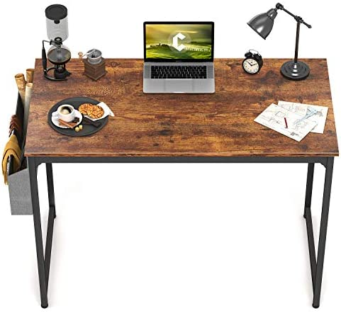 "CubiCubi Study Computer Desk 40"" Home Office Writing Small Desk, Modern Simple Style PC Table, Black Metal Frame, Rustic Brown"