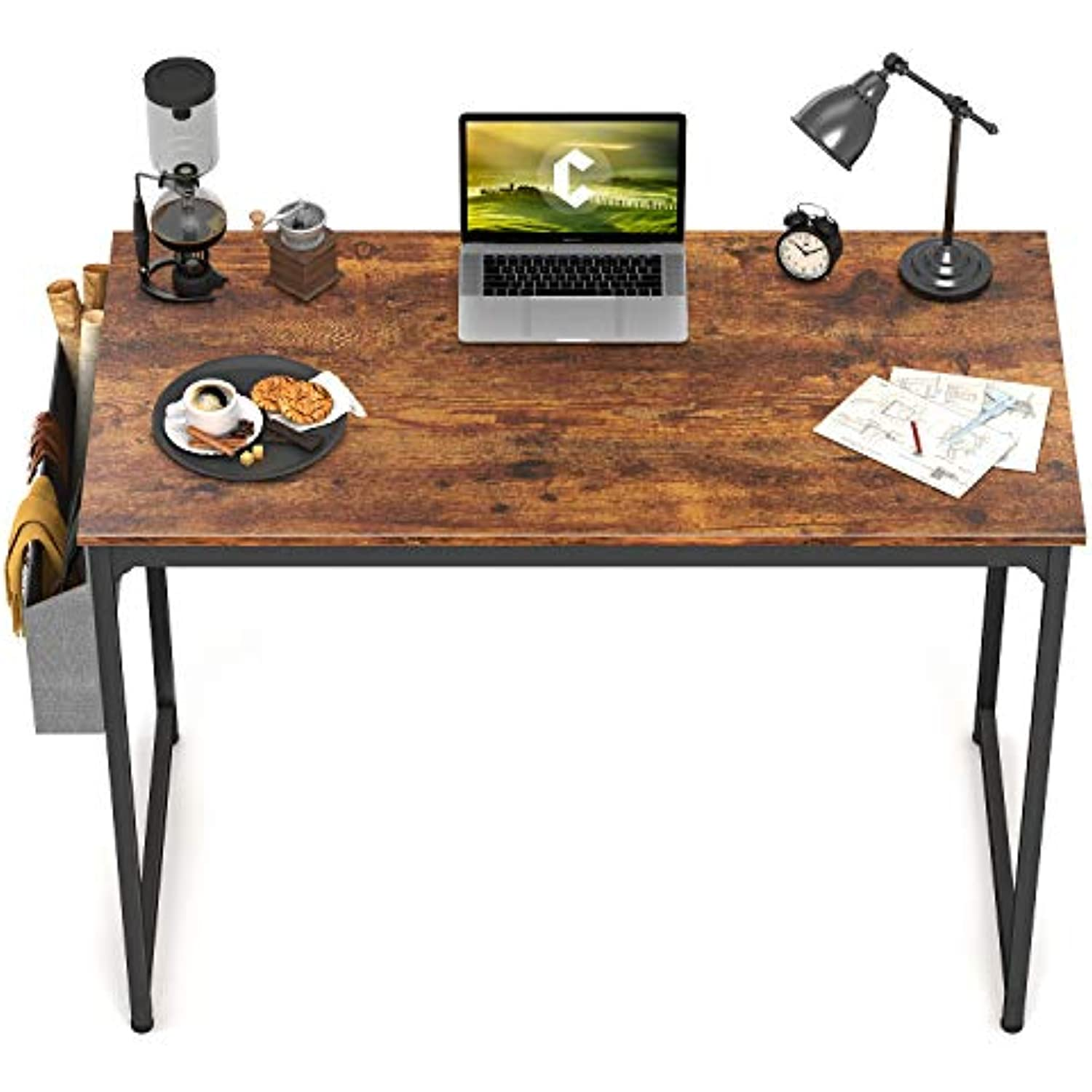 CubiCubi Study Computer Desk 32 Home Office Writing Small Desk, Modern Simple Style PC Table, Black Metal Frame, Rustic Brown