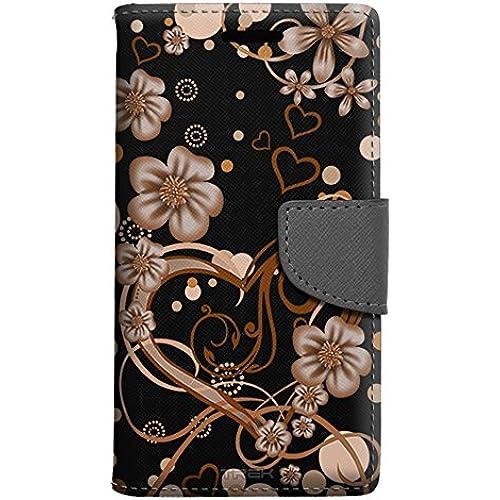 Samsung Galaxy S7 Edge Wallet Case - Sketch Hearts Orange on Black Case Sales