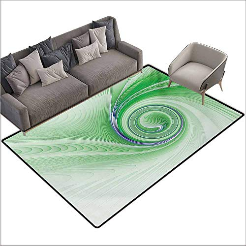 (Children's Rug Spires A Curve Winds Around Fixed Motif Continuously Increasing Spirals Computer Figure Print Non-Slip Backing W67 xL102 Green)