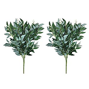 Yalulu 2 Bundles Artificial Willow Bouquet Fake Leaves for Home Wedding Decoration Jungle Party Willow Vine Faux Foliage Plants Wreath 45