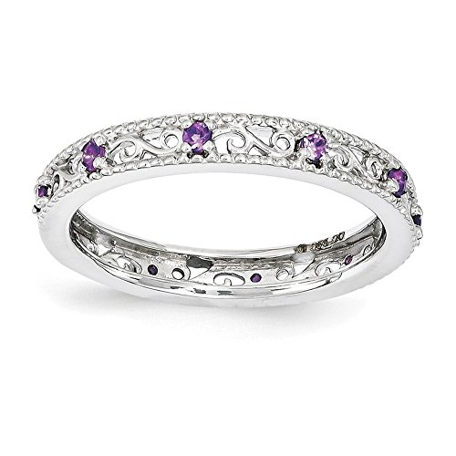Sterling Silver Stackable Expressions Amethyst Ring Size 10 from Jewelry Adviser Stackable Rings
