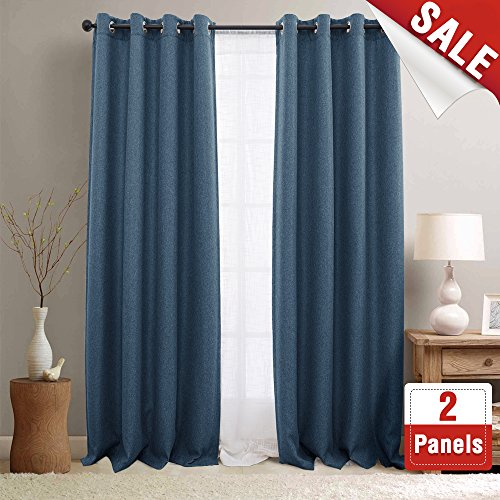 Linen Fabric Moderate Blackout Curtains Panels for Bedroom Room Darkening Drapes for Living Room, (2 Panels, 84-Inch, Denim Blue) (Denim Drapes Black Solid)