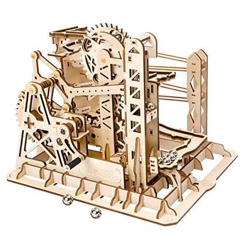 ROKR 3D Wooden Puzzle Adult Craft Model Building Set Mechanical Marble Run Games Home Decoration-Educational Toy for Christmas,Birthday Gift for Boys and Girls Age 14+(Magic Crush Lift -