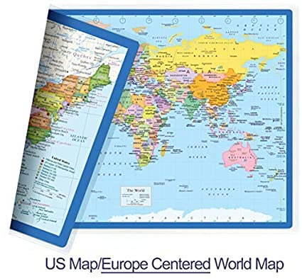 NewSpaceView Classic United States USA and World Desk Map, 2-Sided Print,  2-Sided Sealed Lamination, Small Poster Size 11.5 x 17.5 inches (1 Desk Map  ...