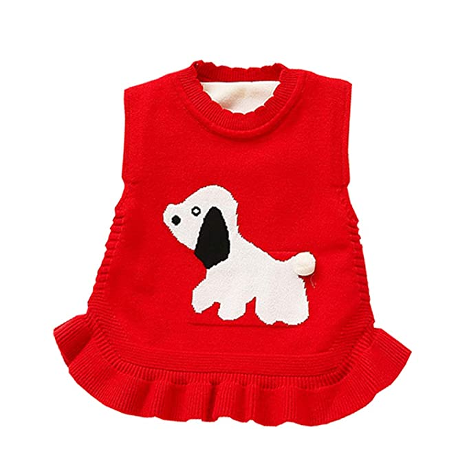 8504154201b21 AIKSSOO Toddler Baby Girls Top Outfit Doggy Ruffle Hem Thick Fleece Sweater  Vest: Amazon.ca: Clothing & Accessories