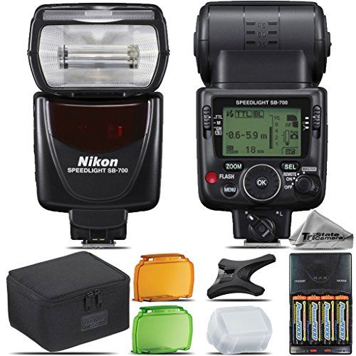 Nikon SB-700 AF Speedlight For D3000, D3100, D3200, D3300, D5000, D5100, D5200, D5300, D5500, D7000, D7100 Nikon Digital SLR. All Original Accessories Included - International Version by TriStateCamera