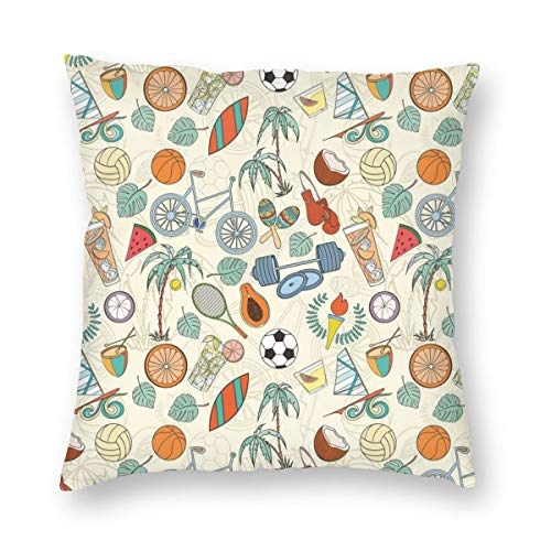 (K0k2to Sport Throw Pillow Cushion Cover,Sports Themed Abstract Cartoon Style Icons Bike Balls Olympic Flame Weight Gloves,Decorative Square Accent Pillow Case)