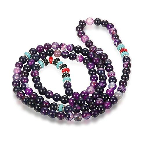 Thunaraz 108 Beaded Bracelets for Women Amethyst Bracelet Pink Buddha Bracelet Set 6mm Amethyst (Adjustable Beaded Heart Necklace)
