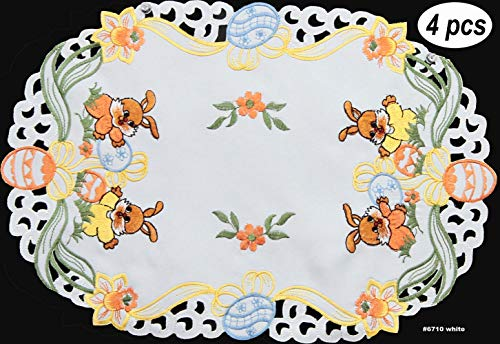 Easter Egg Table Linens - Creative Linens 4PCS Embroidered Easter Bunny Egg Floral Placemats 11x17 Oval White, Set of 4 Pieces