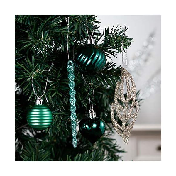 Valery Madelyn Palle di Natale 60 Pezzi di Palline di Natale, 3-5 cm di Carnevale della Foresta Pluviale Verde e Oro Infrangibile Ornamenti di Palla di Natale Decorazione per la Decorazione 5 spesavip