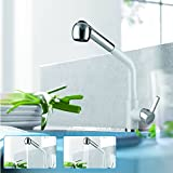 Triple Tree Kitchen Sink Faucet, Pull Down Kitchen Mixer Faucet with Gravity Ball, Baking Varnish Matt White Finish Pull Out Swivel Spout Bar Sink Faucet Chrome