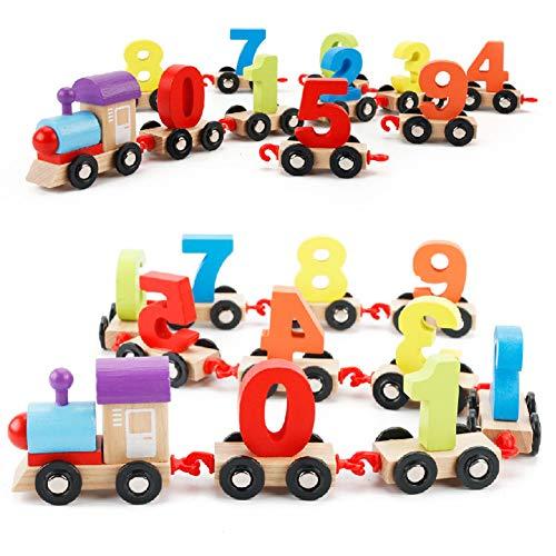 RaiFu 木製列車モデル かわいい おもちゃ 数字付き デジタル幾何学マッチングブロック カラフル 小さな列車 教育玩具 子供 クリスマスギフト