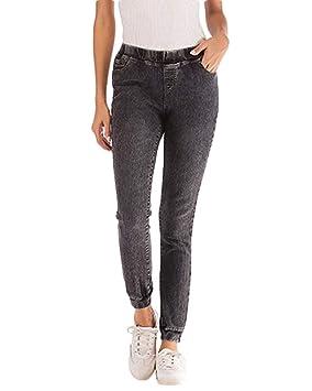 Mujer Vaqueros Slim Fit Cintura Elástica Joggers Jeans ...