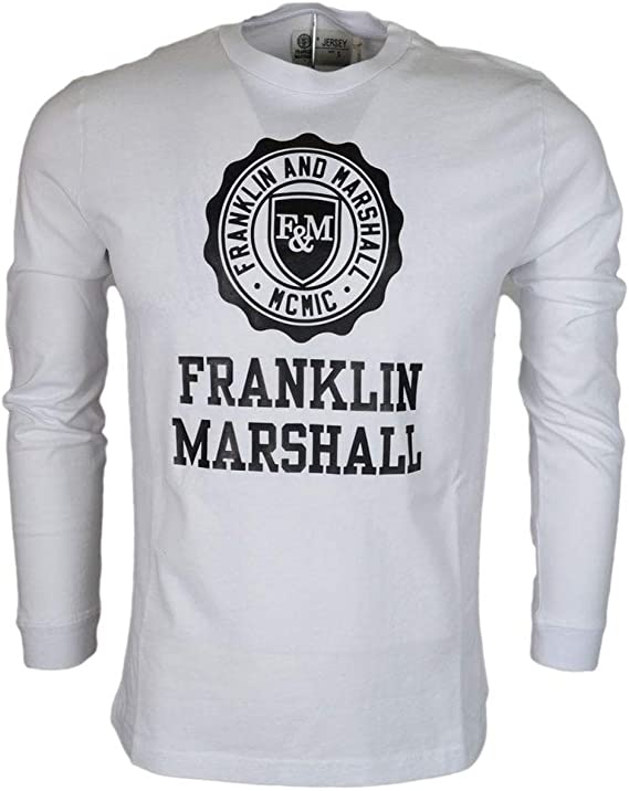 Franklin /& Marshall 248AN Jersey Round Neck White T-Shirt