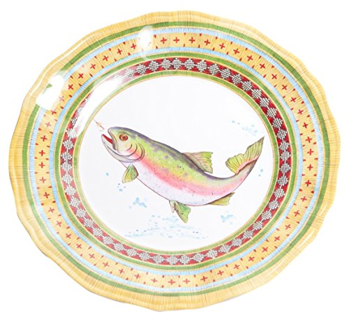 Galleyware Trout Melamine Non-Skid Dinner Plate, Set Of 4