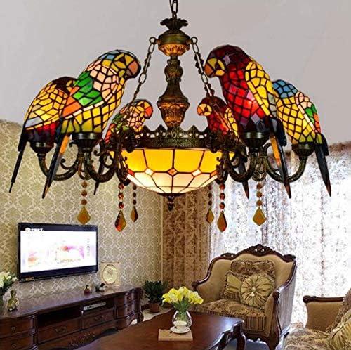 Yd&h Tiffany Stil Kronleuchter Europäischen Retro Papagei Design Glasmalerei Pendelleuchten Kreative Kristall Hängen Deckenleuchte Für Wohnzimmer Esszimmer,C