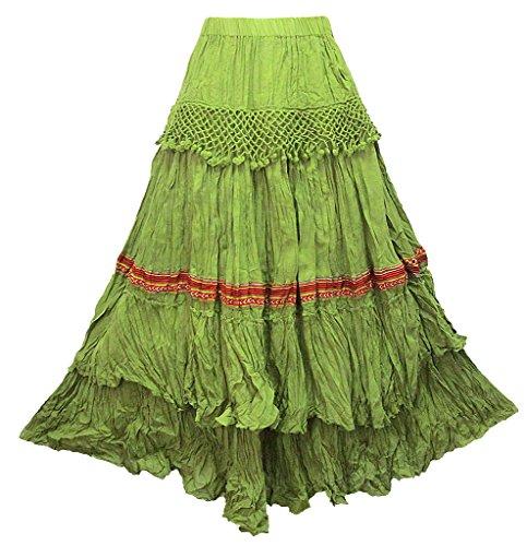 Tier Crinkle Skirt (Women's Crochet 2-Tier Cotton Crinkle Skirt - S0329)