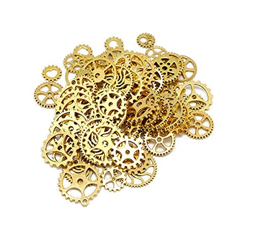 (100 Gram Assorted Vintage Metal Antique Steampunk Gears Charms Pendant Cog Clock Watch Wheel Gears DIY Accessories Supplies for Crafting Jewelry Making Bracelets Necklace Golden)