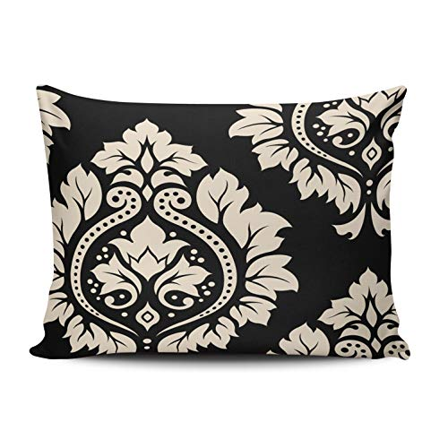 - XIUBA Pillowcases Decorative Damask Art Black and Cream Customizable Cushion Decorative Rectangle 12X16 Inch Boudoir Size Throw Pillow Cover Case Hidden Zipper One Sided Design Printed