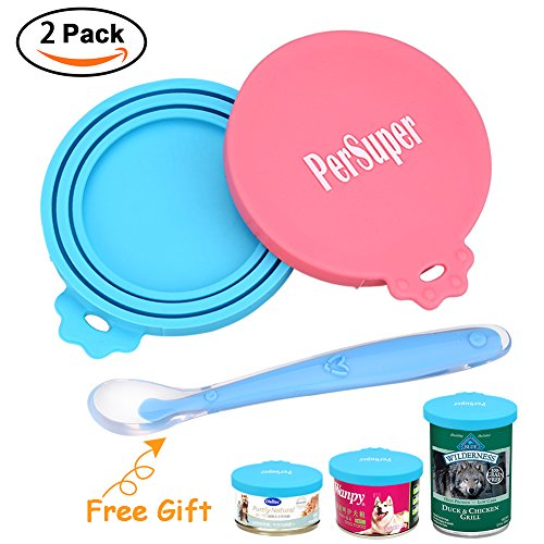 Pet Can Covers Scoop Packaging - 1 Spoon + 2 Pack Universal BPA Free Silicone Pet Food Can Multiple Sizes Lid Covers, One Size Fits All Standard Size Dog and - Plastic Water In Boiling Will Melt