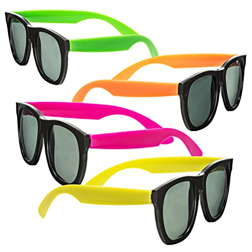 Neon Sunglasses - 80's Style Colorful Party Glasses With Black Plastic Lenses, Party Favors - NJ Novelty (24 - Glasses Neon