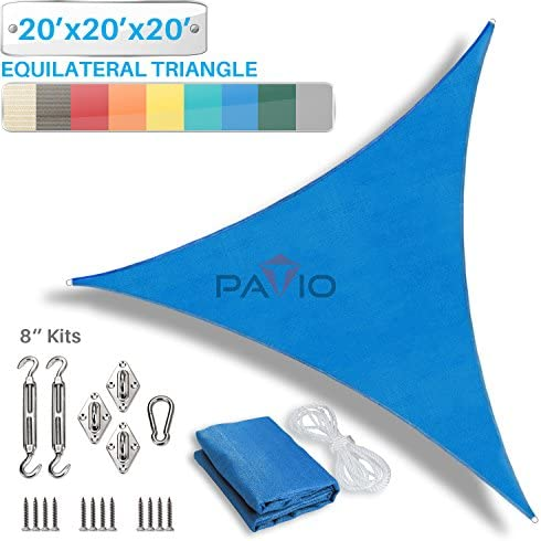 Patio Paradise 20 x 20 x 20 Sun Shade Sail with 8 inch Hardware Kit, Blue Equilateral Triangle Canopy Durable Shade Fabric Outdoor UV Shelter – 3 Year Warranty – Custom