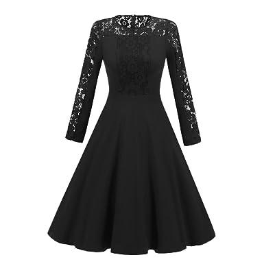 VENMO Frau Neue Vintage Spitze Formales Patchwork Hochzeitskleid Retro Swing  Kleid Elegant Revers Cocktailkleid Jahre Party