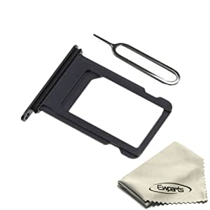 Ewparts for Iphone 7 Plus Sim Card Tray Replacement with Waterproof Rubber & Eject Pin (Jet Black)