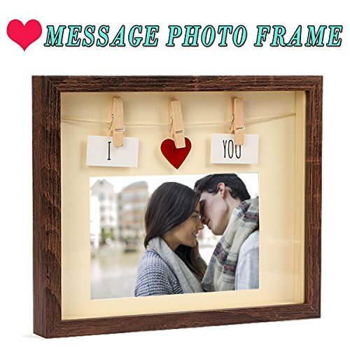 Love Picture Frame With Mat By Giftmon, MDF Wood & Glass Pane, Complete With Red Heart & Card & Clothes Line & Pin, Most suitable for Couples, Family, Friends Picture, - Of Glasses Shapes Frame Names