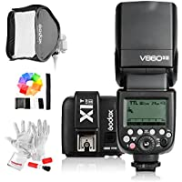 Godox V860II-S 2.4G GN60 TTL HSS 1/8000s Li-on Battery Camera Flash Speedlite with X1T-S Wireless Flash Trigger, 40*40cm Foldable Flash Softbox and S-type Bowens Mount Speedlite Bracket for Sony