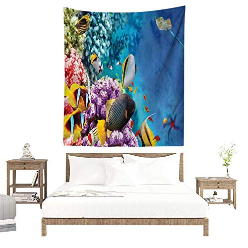 alisoso Tapestries for Sale,Ocean Decor Collection,Clear Underwater Sea Animal World with Corals and Tropical Fishes and a Stingray Starfish Se W57 x L74 inch Wall Decoration Tapestry Beach Mat