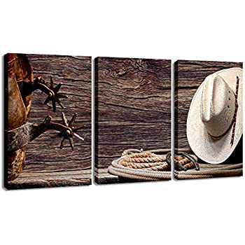 Canvas Print Wall Art Decor Western Cowboy Wall Art American Cowboy Hat Boots West Rodeo Vintage Picture Stretched Gallery Canvas Wrap Giclee Print Ready to Hang for Home Office Living Room