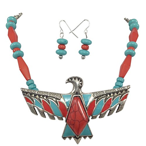 (Tribal Eagle Multi Color Silver Tone Western Southwestern Look Necklace Earring Set (Red Stone Center))