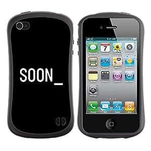 Suave TPU GEL Carcasa Funda Silicona Blando Estuche Caso de protección (para) Apple Iphone 4 / 4S / CECELL Phone case / / Soon Cyber Computer Black White Text /