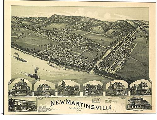 (Cutler Miles New Martinsville West Virginia 1899 Map Print on Wood)