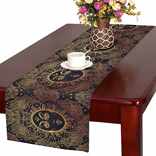 (InterestPrint Beautiful Floral Paisley Sun Face Medallion Pattern Table Runner Cotton Linen Cloth Placemat Home Decor for Home Kitchen Dining Wedding Party 16 x 72 Inches)