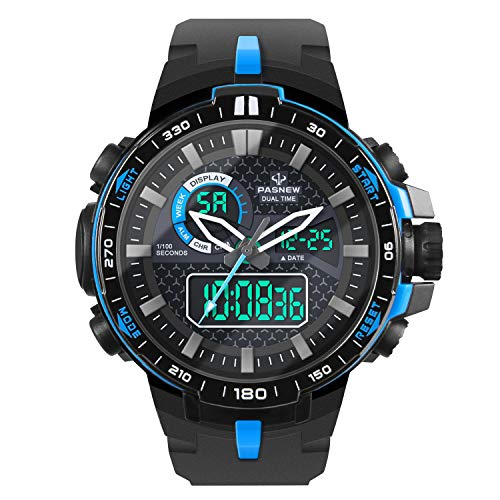 (HIwatch Boys' Sports Watch Outdoor Waterproof Military Quartz Digital Watch Date Multi Function LED Alarm Compass Stopwatch, Blue)