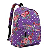 Miss Lulu School Backpacks Canvas Bookbag Cute Printed Leisure Backpack for Teenage Girls (1401F Purple)