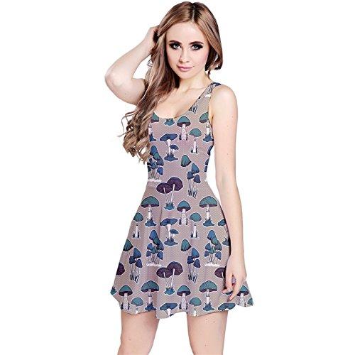 - CowCow Womens Mushrooms Fungus Boletus Champignon Sleeveless Dress, Beige - XS
