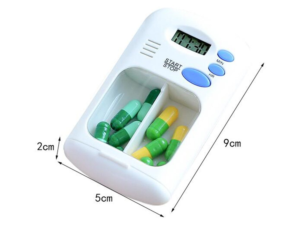 Daily Pill Box Medication Reminder Timer,Portable Travel Pill Organizer Box with Automatic Alarms,Up to 99 Hours Period Alerts for Daily Medication Vitamins Supplements,No Battery Required