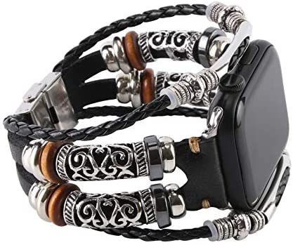 Konafei Compatible with Apple Watch Band 44mm 42mm 40mm 38mm iwatch Series SE 6 5 4 3 2 1, Leather Boho Bracelets Jewelry Multilayer Metal Cuff Retro Strap for Men&Women (Black, 42/44mm)