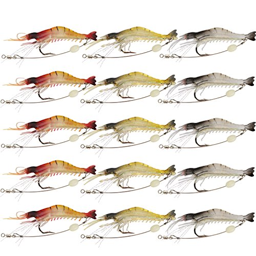 Goture Fishing Soft Lures 15 Pieces Shrimp Kit Lots Swimbait for Bass Salmon Freshwater 3.54 in 0.2 Oz