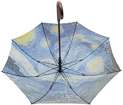Saint Clair Famous painting 60FL-02 Starry Night By Gogh Umbrella with Automatic Open Carbon Ribs and Wooden Handle