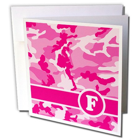 3d Rose Cute Pink Camo Camouflage Letter F - Greeting Car...