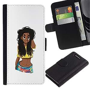 KLONGSHOP / Tirón de la caja Cartera de cuero con ranuras para tarjetas - Grunge Beach Girl Belly Woman Long Hair - Sony Xperia Z1 Compact D5503